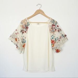 UMGEE Sheer Floral Embroidered Flounce Sleeve Top